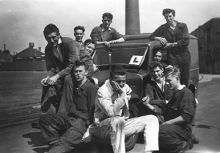 Me and some of the other engineering apprentices at the Metal Box Co, Acton, North London, 1956.