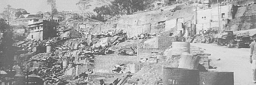 Aerial view of the result of the bombing