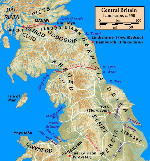The peoples of Central Britain - English midlands-southern Scotland, central-north Wales