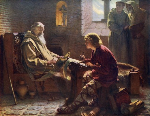 Bede concludes the translation of St John by dictation to a young scribe (painting by J D Penrose)