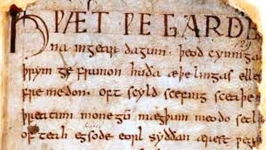 Introduction to the 'Beowulf' saga, a modified version of the original oral tradition set down by a Christian scribe in the 10th Century Danelaw region of England