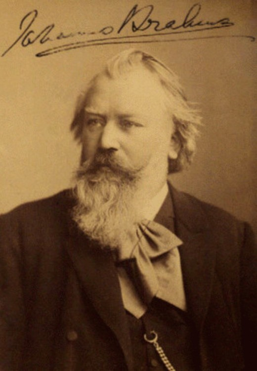 Signed photograph of Brahms, 1889.