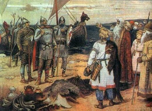 Painting by Viktor Vasnetsov shows Rhos or Vaeranger (Varangians) being greeted by Slav envoys on landing after a voyage across the Eastern Sea (Baltic)
