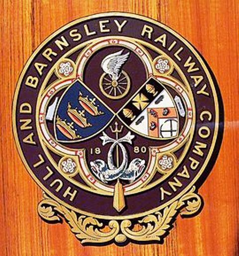 Close-up of the Hull & Barnsley Railway crest on a preserved carriage side - see preservation in action on the North Yorkshire Moors Railway