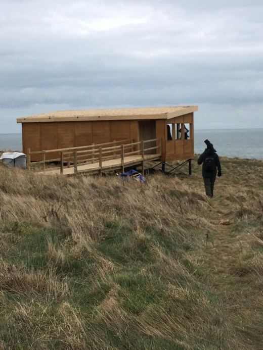 A photograph of the new soon to be ready seawatching hide at Flamborough Head.