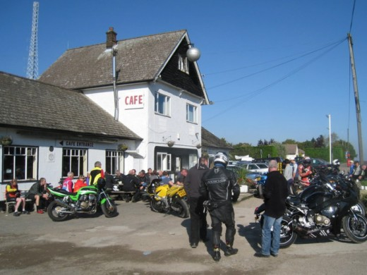 Bikers gather at the Silver Ball cafe on the A10 Cambridge road at Reed near Royston, Hertfordshire