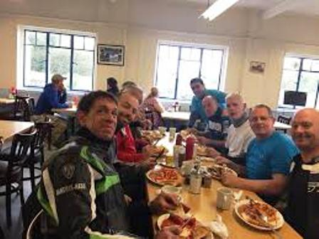 Bikers enjoy a Sunday breakfast in the Silver Ball - plenty of ribaldry, laughter and good humour to share