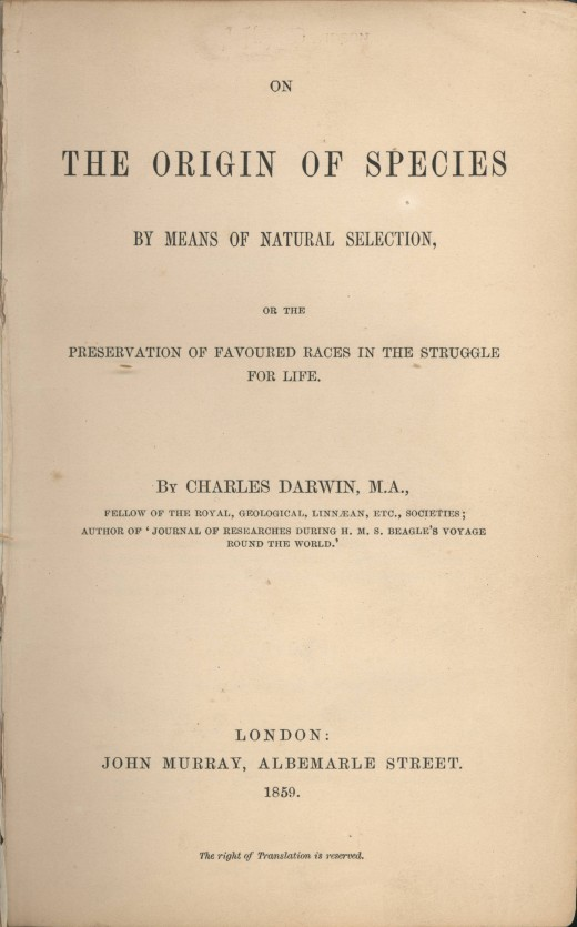 title page of 1859 Murray edition of the Origin of species by Charles Darwin