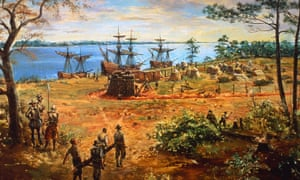 An artistic depiction of the Jamestown Settlement