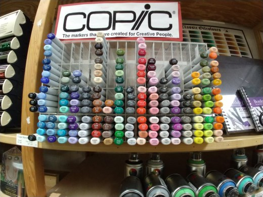 A display of Copic Markers in a local art supply shop
