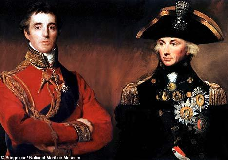 Sir Arthur Wellesley and Lord Horatio Nelson pose for the painter - between them they kept 'Boney' (Napoleon) at arm's length. Nelson paid a high price for victory at Trafalgar