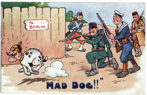 Cartoon postcard shows a French 'poilu' seeing off the 'mad dog', Kaiser Wilhem. World War One saw the French pay heavily for the German invasion, as they did in 1940