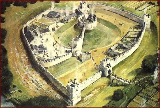 Pickering Castle reconstruction - aerial view. The castle is situated to the north of the town on a hill that overlooks the railway to the west, the moors to the north and later town extension to the east