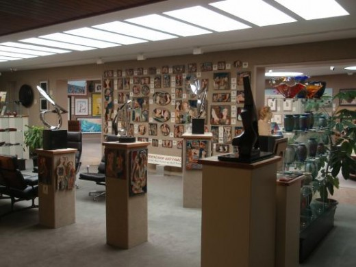 Center Gallery with Ruth Faktor  ceramic tiles at Saper Galleries