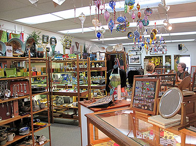 Interior of Mackerel Sky Gallery, East Lansing, showing diversity of wares for sale