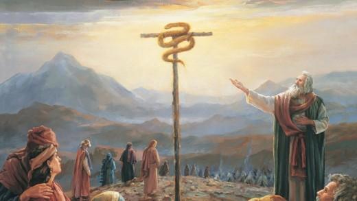 Prophet Moses Pointing People to brazen Serpent