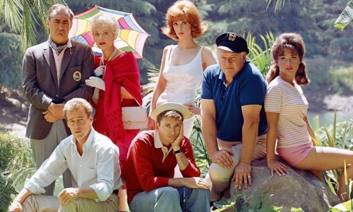 The seven cast-aways (L-R), kneeling, Russell Johnson; Bob Denver; (Back row), Jim Backus; Natalie Shaefer; Tina Louise, Alan Hale, Jr. and Dawn Wells.