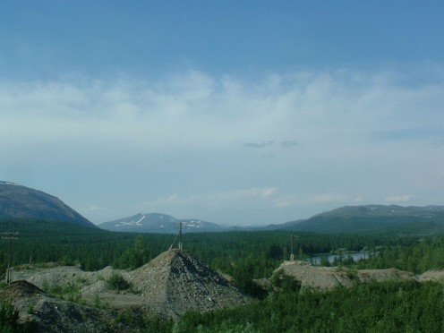 This photo shows the Urals, low-lying mountains eroded into the form of hills and considered to be mature mountains