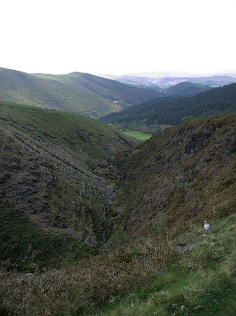 The characteristic V-shaped valley of Craig y Gath in Scotland, UK