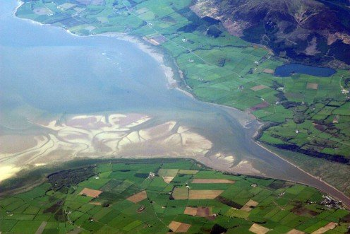 The River Nith estuary, which broadens into a wide delta where it meets the sea