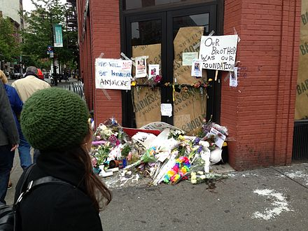 A memorial in May 2013 where Mark Carson, a 32-year-old black gay man, was shot to death by another man who trailed and taunted him and a friend as they walked down the street in New York City's Greenwich Village.