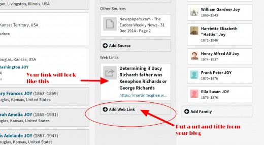 Here's an example of adding your blog post URL on Ancestry.com.