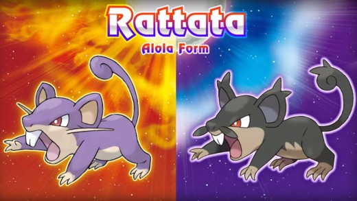 Promotional image showing the difference between a Rattata in the rest of the world and a Rattata from Alola.