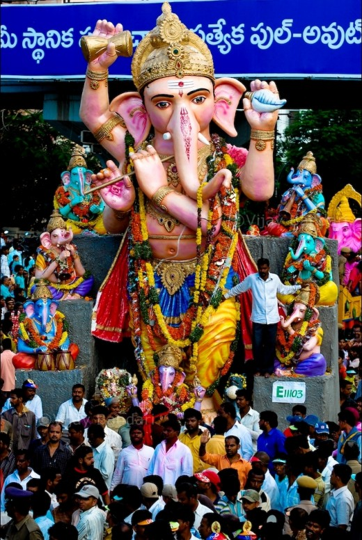 Street festivities in Hyderabad, India during the festival of Ganesha Chaturthi