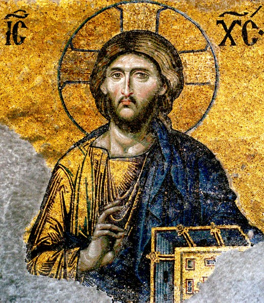 An example of Christian Byzantine pictorial art, the Deësis mosaic at the Hagia Sophia in Constantinople.