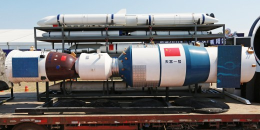 A full-size model of Chinese space station core module is seen at the Zhuhai Airshow, in Zhuhai, China