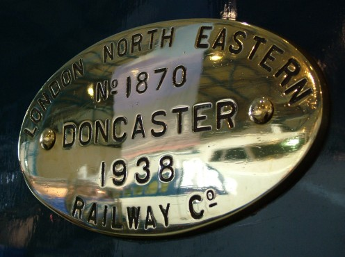 Builder's plate on LNER 4468 Mallard at the National Railway Museum, York