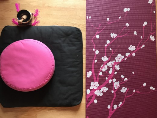 My meditation cushions and yoga mat. I like to do yoga and meditate, but they aren't a magical cure for depression or other mental illnesses.
