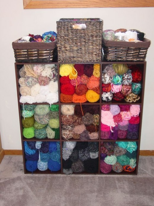 Inexpensive shelves can be a perfect yarn storage solution if you have the space