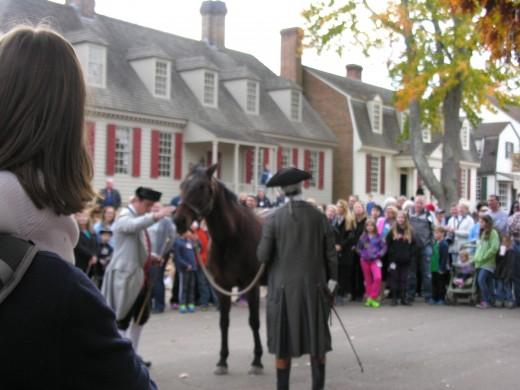 Reenactors auctioning a horse, Colonial Williamsburg,  November 2014.