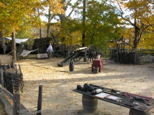 The Revolutionary War encampment at the Revolutionary War Museum at Yorktown.