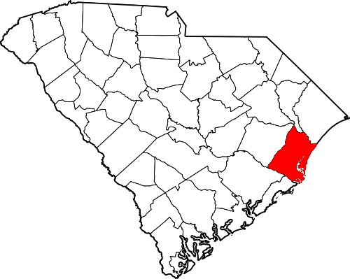 Map location of Georgetown County — in South Carolina.