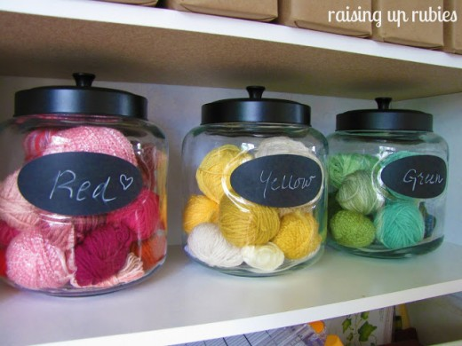 Jars of any kind are so pretty displaying your left over yarn. You can find them at craft stores, your local thrift store or at rummage sales.