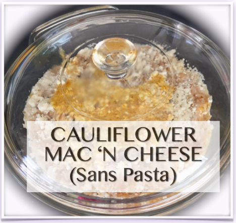 Riced cauliflower is the perfect base for an updated mac 'n cheese style casserole without pasta.