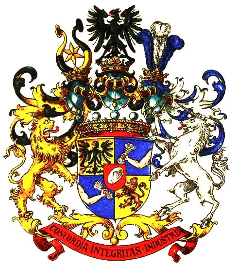 The coat of arms of the wealthy Rothschilds, granted in 1822 by the Habsburg College of Heralds.