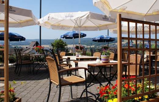 Dining terrace with a beautiful view of the Lahn River during the summer.