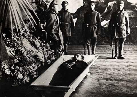 John Reed died in Russia and his body was entombed in the Kremlin Wall Behind the Lenin Mausoleum.  Reed is the only American entombed in the Kremlin wall with other Communist Dignitaries.