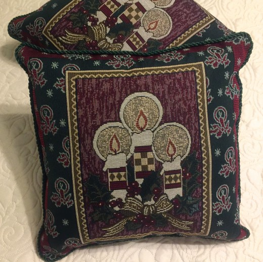 """Vintage manufactured pillow tops sewn into 14"""" x 14"""" pillows were fun to pull out of my stash."""