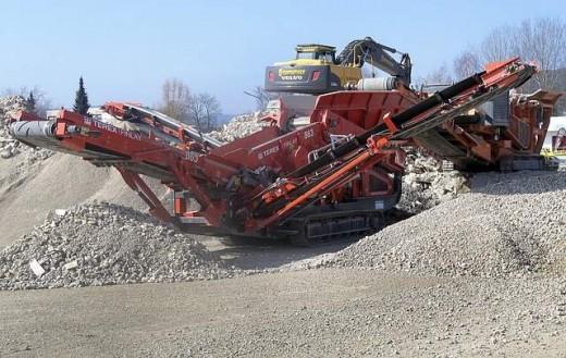 A portable demolition waste crusher.