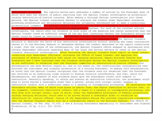 The Barr Report, pg. 3. The Yellow highlight is where Barr refers to himself. The Red highlight refers to Robert Mueller.