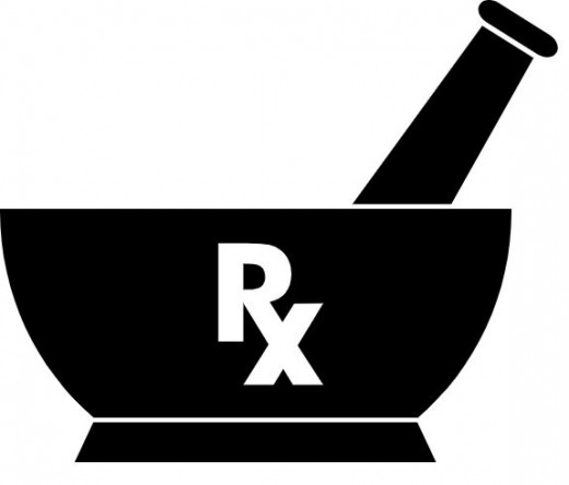 The two symbols most commonly associated with pharmacy in English-speaking countries are the mortar and pestle and the ℞ (recipere) character.
