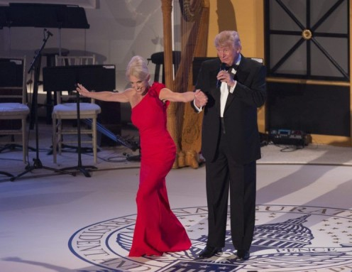 Conway dances with  President Donald J. Trump during the Inaugural Party.