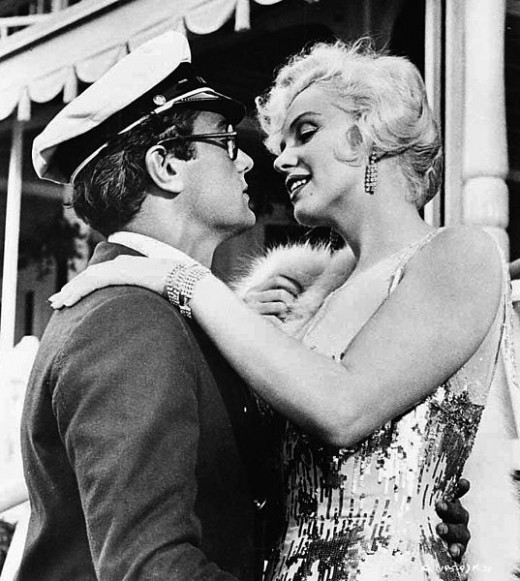 Marilyn Monroe and Tony Curtis in a promotional image for Some Like it Hot (1959)