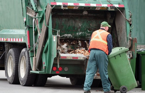 Garbage personnel do tasks from the time they start to quitting time.