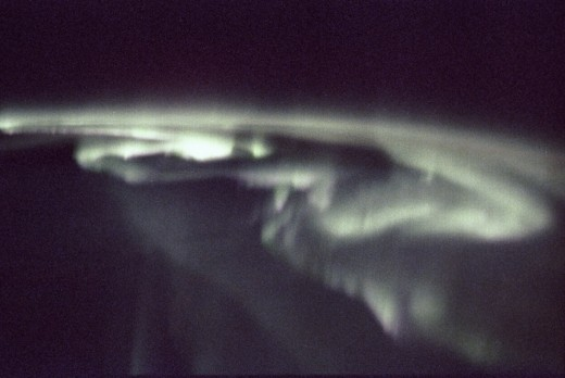 This photograph of aurora borealis, northern aurora, was taken during the Spacelab-J (SL-J) mission (STS-47).