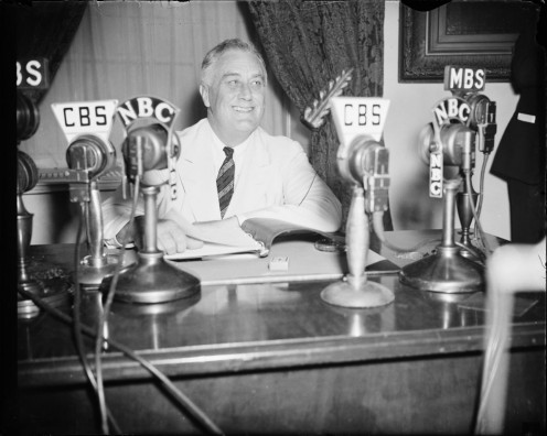 FDR a lot of casual press conferences in the Oval Office and began the tradition of an annual press reception shaped after state diplomatic events. FDR was the first president to fully-use radio as a force to promote his programs and explain policies